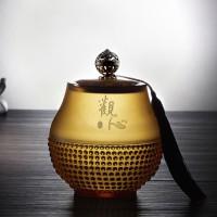 创意琉璃茶叶罐 高档商务礼品定制logo