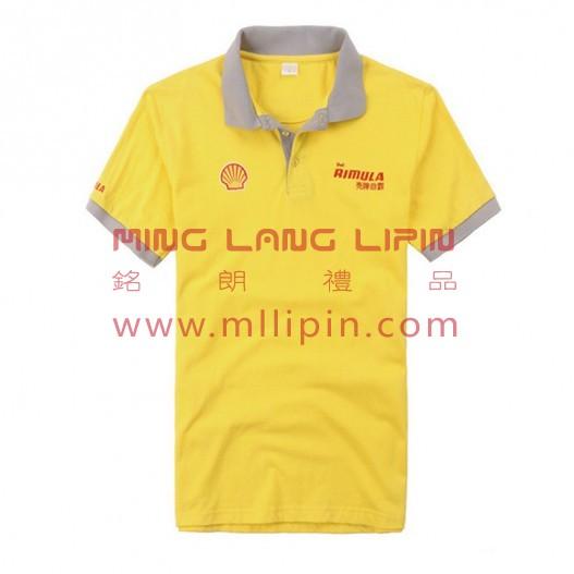 壳牌polo衫定做黄色全棉工作T恤
