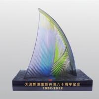 天津新港重新开港十周年纪念琉璃摆件礼品定制会议纪念定制LOGO