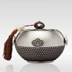 如意四方茶叶罐 纯锡