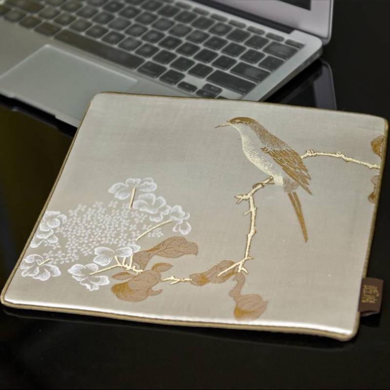 琼花翠禽图 丝绸鼠标垫  中国风礼品 送老外礼品 政府外事礼品