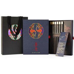 箸意6双装 筷子筷架礼物生日高档礼盒礼品装日式餐具创意纪念品实用 2.5红檀木+筷架送老外