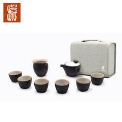 台湾陆宝功夫定窑龙纹茶组1壶1公道杯6杯子1布包高档商务礼品送客户礼品公司
