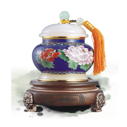 福如东海茶叶罐景泰蓝镶玉高档礼品工艺收藏品外事礼品送老外礼品公司