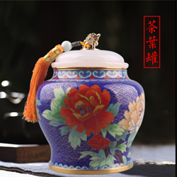 富贵人生景泰蓝茶叶罐高档外事礼品送老外送领导企业庆典礼品公司