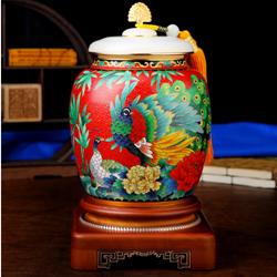 富贵无限景泰蓝茶叶罐 国礼国粹送老外收藏纪念礼品公司