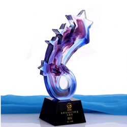 琉璃颁奖礼品年会纪念礼品玻璃奖杯