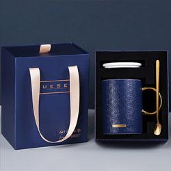 高档创意骨瓷杯带勺办公室杯子商务伴手礼企业年会会议纪念礼品定制