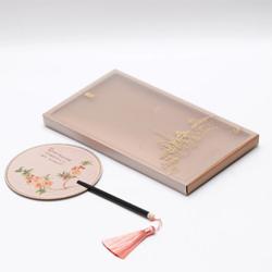 丝绸文人扇文化创意用品紫光檀手柄带流苏高档商务礼品文化礼品定制